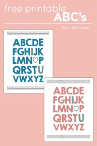 Two wall art prints in blue and pink with the complete ABC's with I, heart, and U written in a different colors on pink background with text overlay-free printable ABC's.