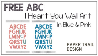 Printable Wall Art: ABC I Heart You Wall Art in Blue or Pink