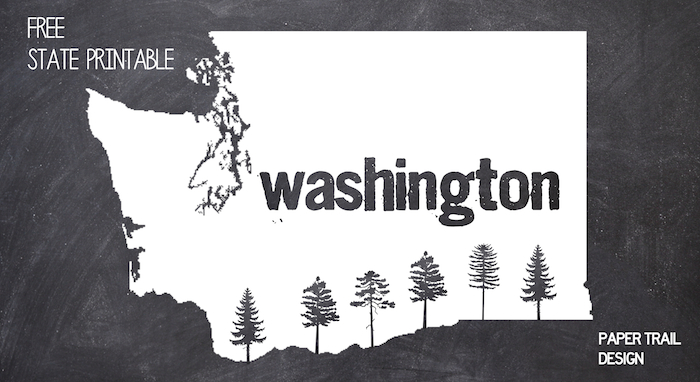 Printable Wall Art: Washington State Silhouette with Trees