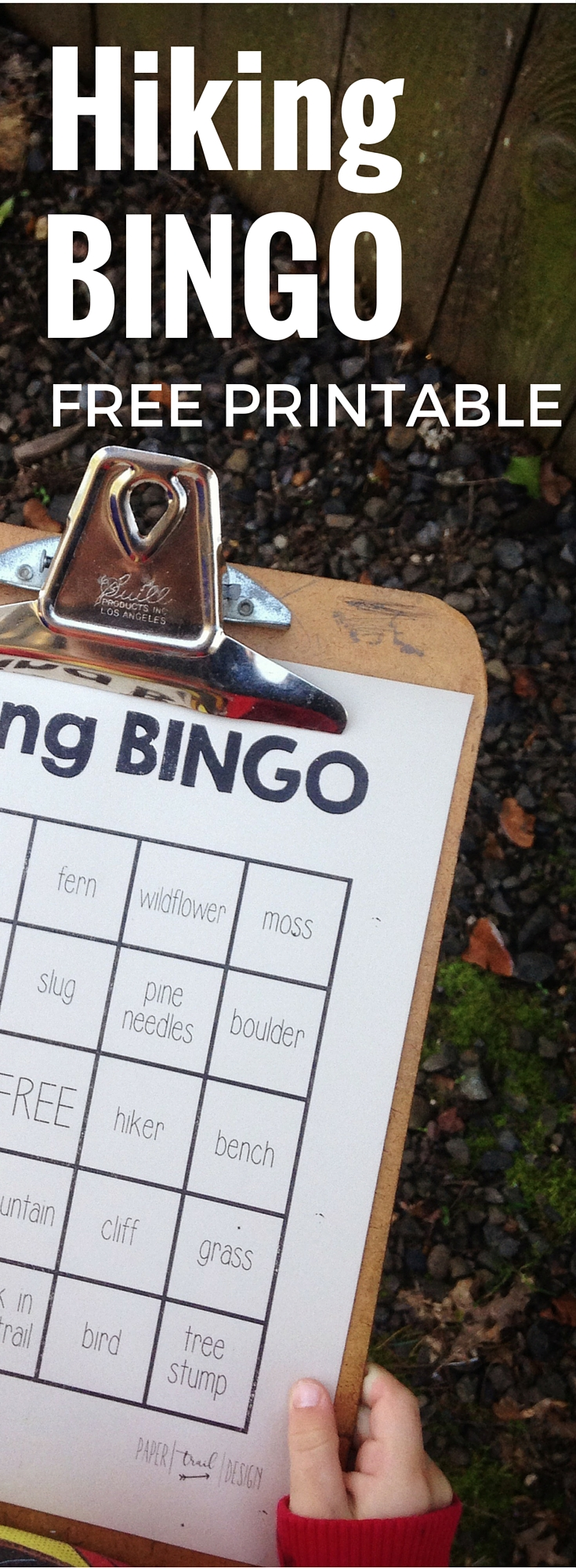 Hiking Bingo Free Printable. Keep the kids happy and excited while hiking. Minimize whining and complaining and help them to have fun while out on the trail!