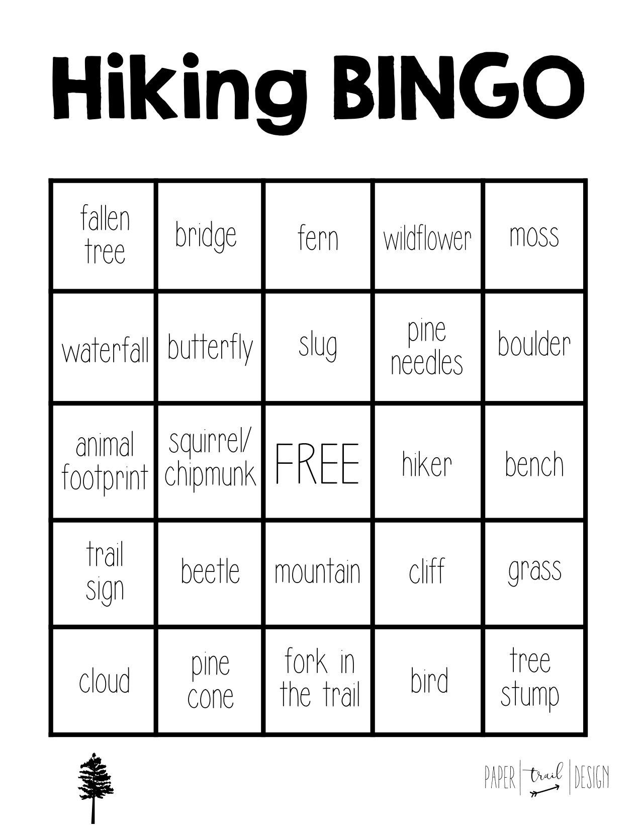 Hiking Bingo Free Printable Paper Trail Design