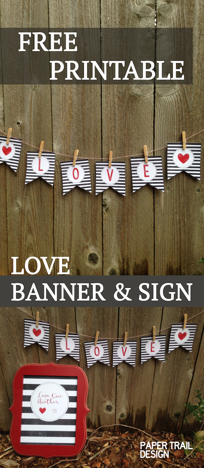 Free Printable Love Banner Matching Print Paper Trail Design