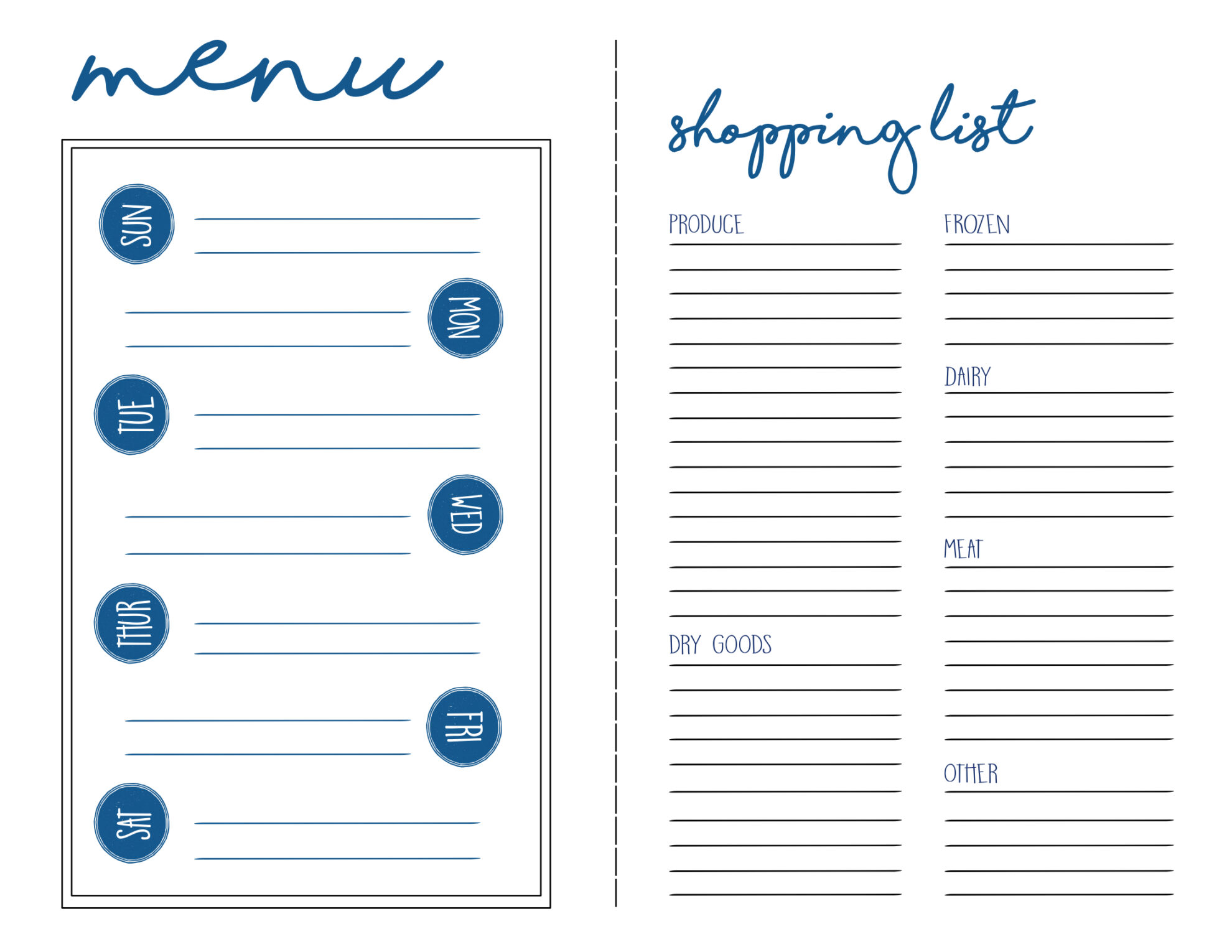 menu plan shopping list free printable