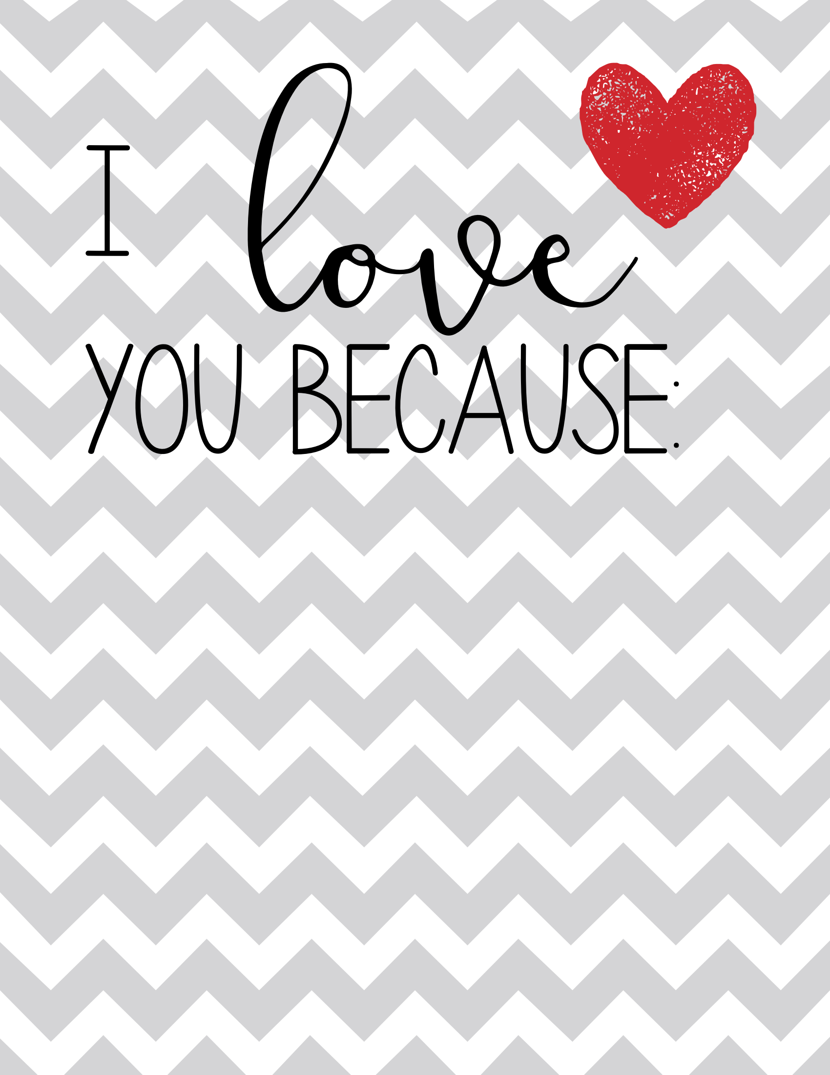 Free Printable: I Love You Because Poster - Paper Trail Design