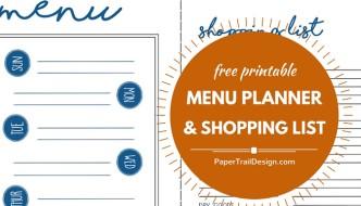Menu Plan + Shopping List Free Printable