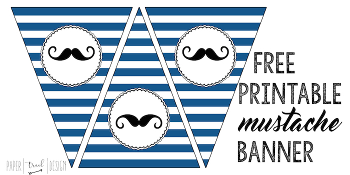 Free Printable Mustache Banner to use for a baby shower or birthday party or othe occasion.