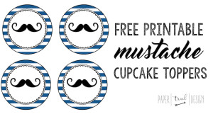 Free Printable Mustache Cupcake Toppers: Print these mustache cupcake toppers to decorate your cupcakes for a baby shower or birthday party