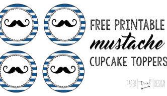 Free Printable Mustache Cupcake Toppers