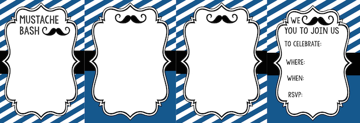 mustache party invitations