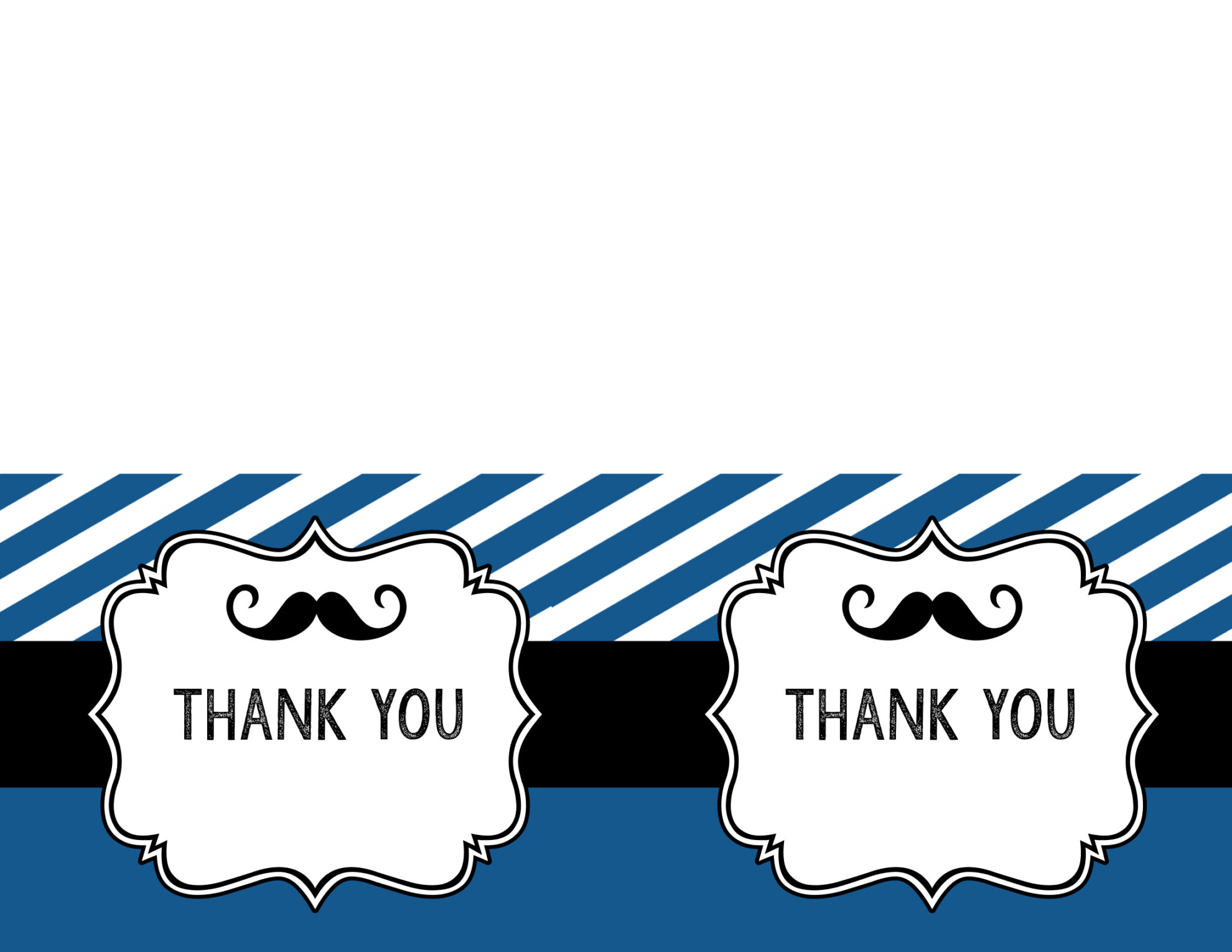 mustache thank you cards free printable paper trail design