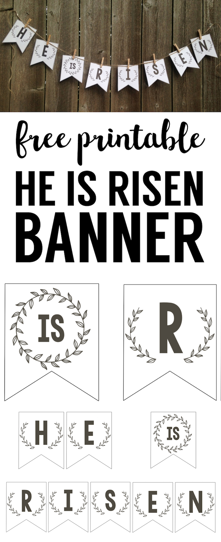 He is Risen Banner free printable Easter banner. Print this DIY banner for easy Easter decorations.