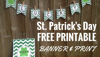 Lucky Banner : St. Patrick's Day Banner free printable. Print this shamrock banner and all you have to do is cut and hang! So easy!