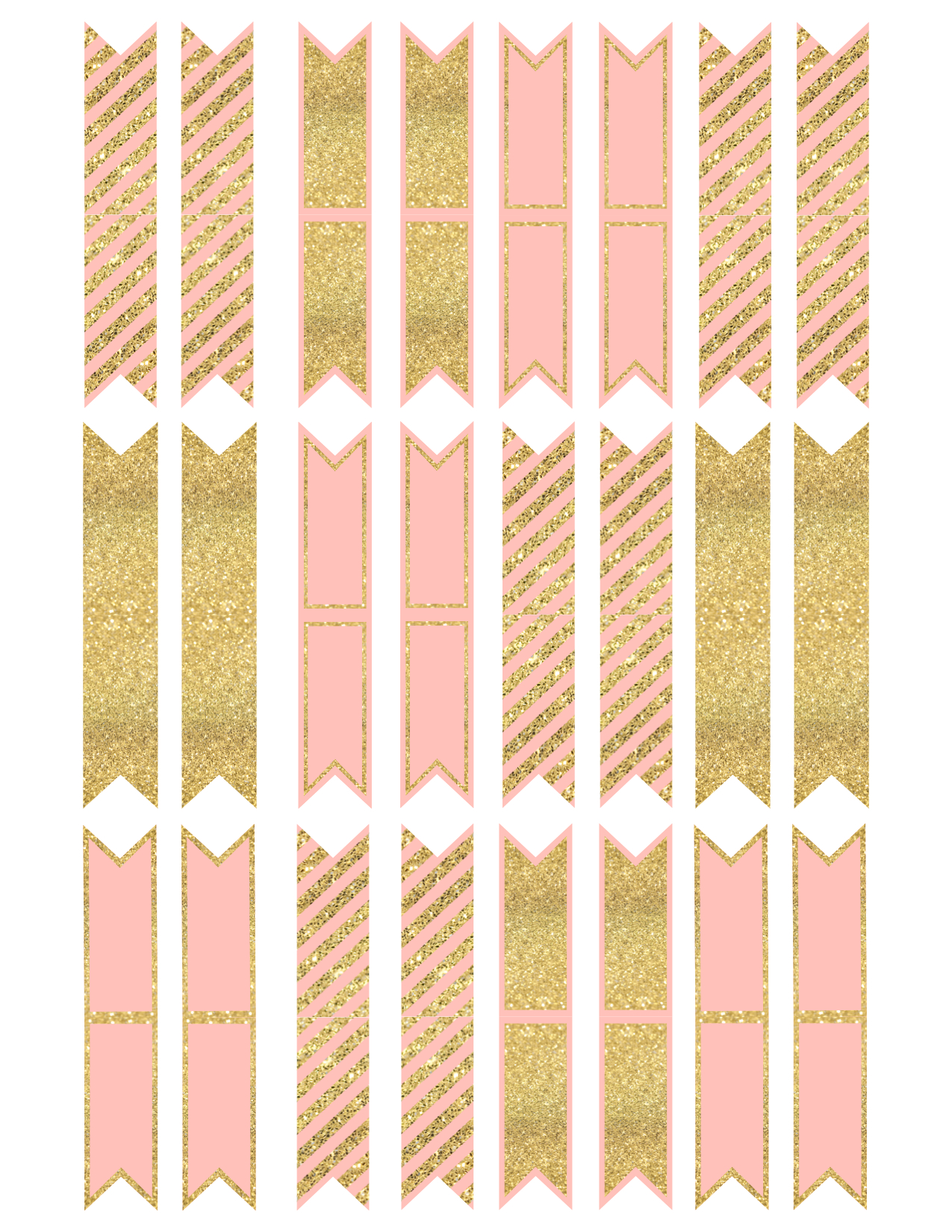 Pink and Gold Cupcake Topper Flags or Bunting | Paper ...