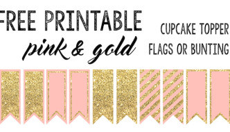 Pink and Gold Cupcake Topper Flags or Bunting