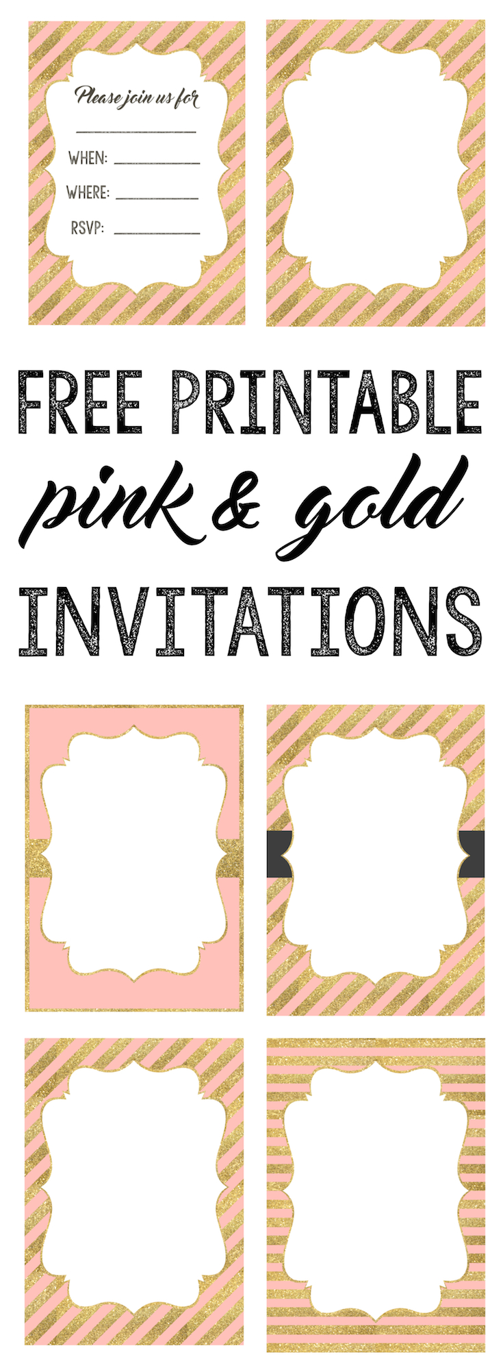 Pink and Gold invitations free printable. Select a pink and gold invitation and personalize it for your baby shower, birthday party, bridal shower, or other event.