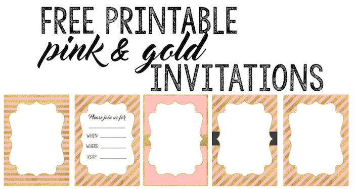 Pink And Gold Invitations Free Printable