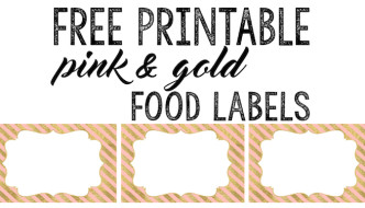 Pink and Gold Food Labels Free Printable