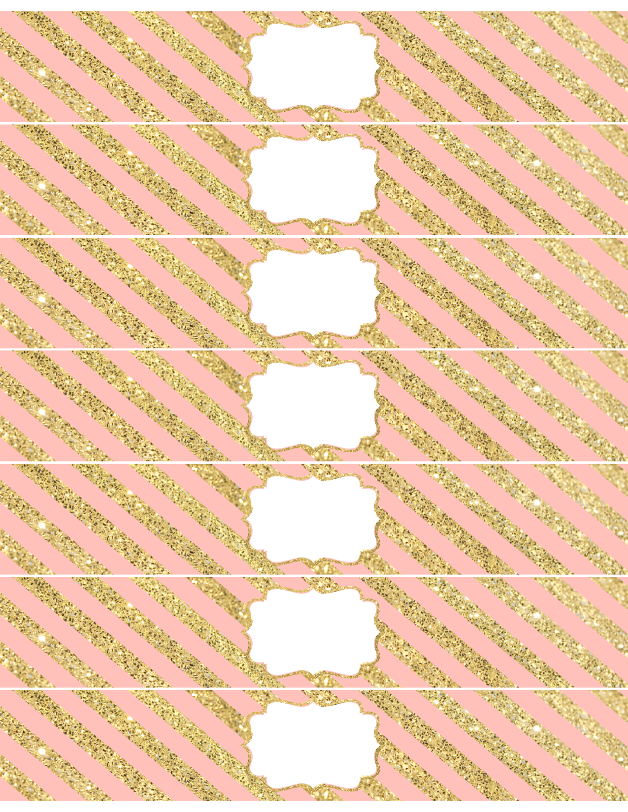 print the pink and gold water bottle wrappers here printables