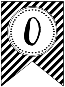 Banner flag with black and white stripes and number -0