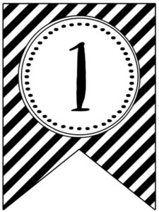 Banner flag with black and white stripes and number -1