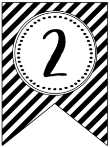 Banner flag with black and white stripes and number -2