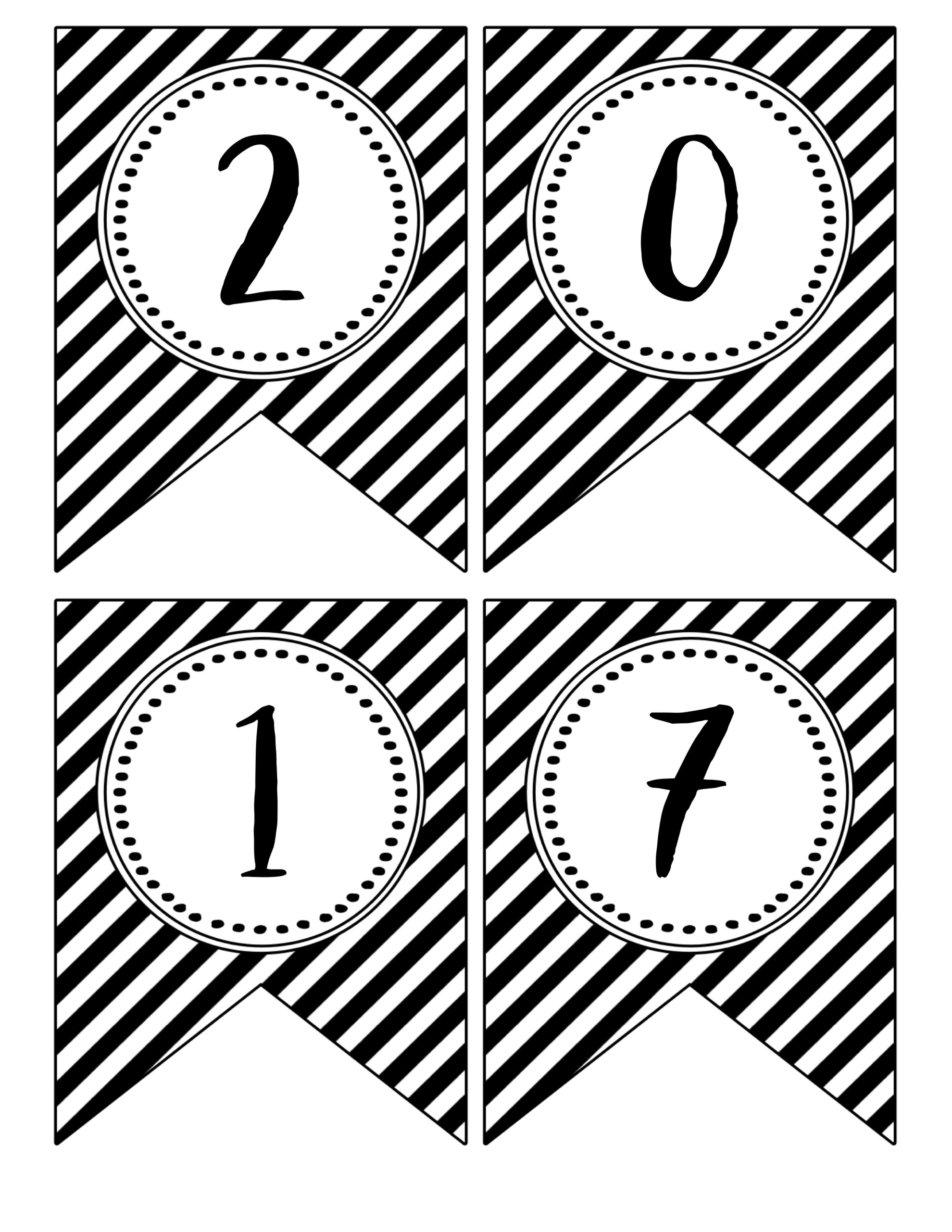 free printable banner flags for a black and white gradutaion party