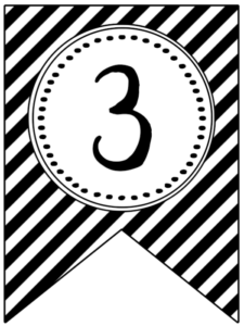 Banner flag with black and white stripes and number -3