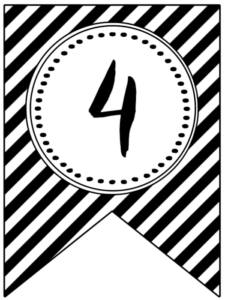 Banner flag with black and white stripes and number -4