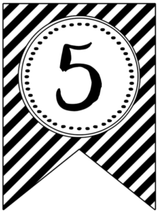 Banner flag with black and white stripes and number -5