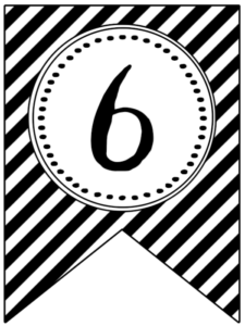 Banner flag with black and white stripes and number -6