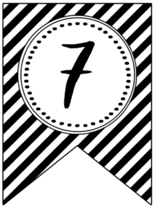 Banner flag with black and white stripes and number -7