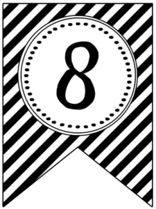 Banner flag with black and white stripes and number -8