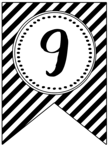 Banner flag with black and white stripes and number -9