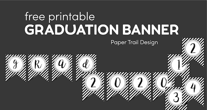 Graduation baner with workds grad and numbers 2021 and 1234 on grey background with text overlay- free printable graduation banner