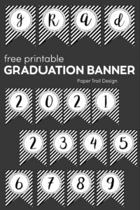 Graduation banner with words grad and numbers 2021 and 2345678 on grey background with text overlay- free printable graduation banner