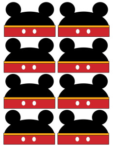 Mickey Mouse Labels free printable and instructions on how to customize them. Use these for food labels or name cards for a baby shower or birthday party.