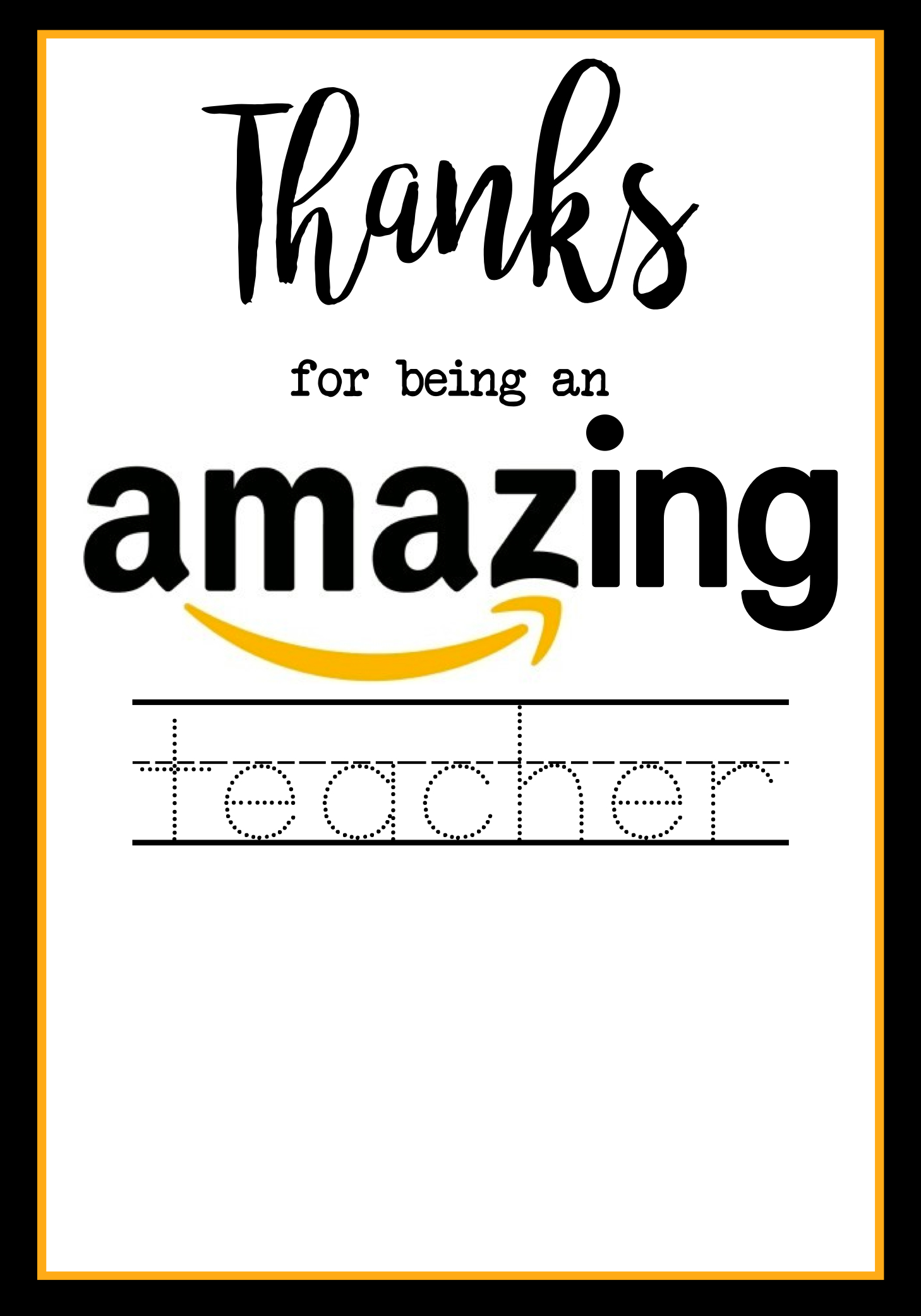 picture relating to Amazon Gift Card Printable identified as Instructor Appreciation Amazon Card - Paper Path Style