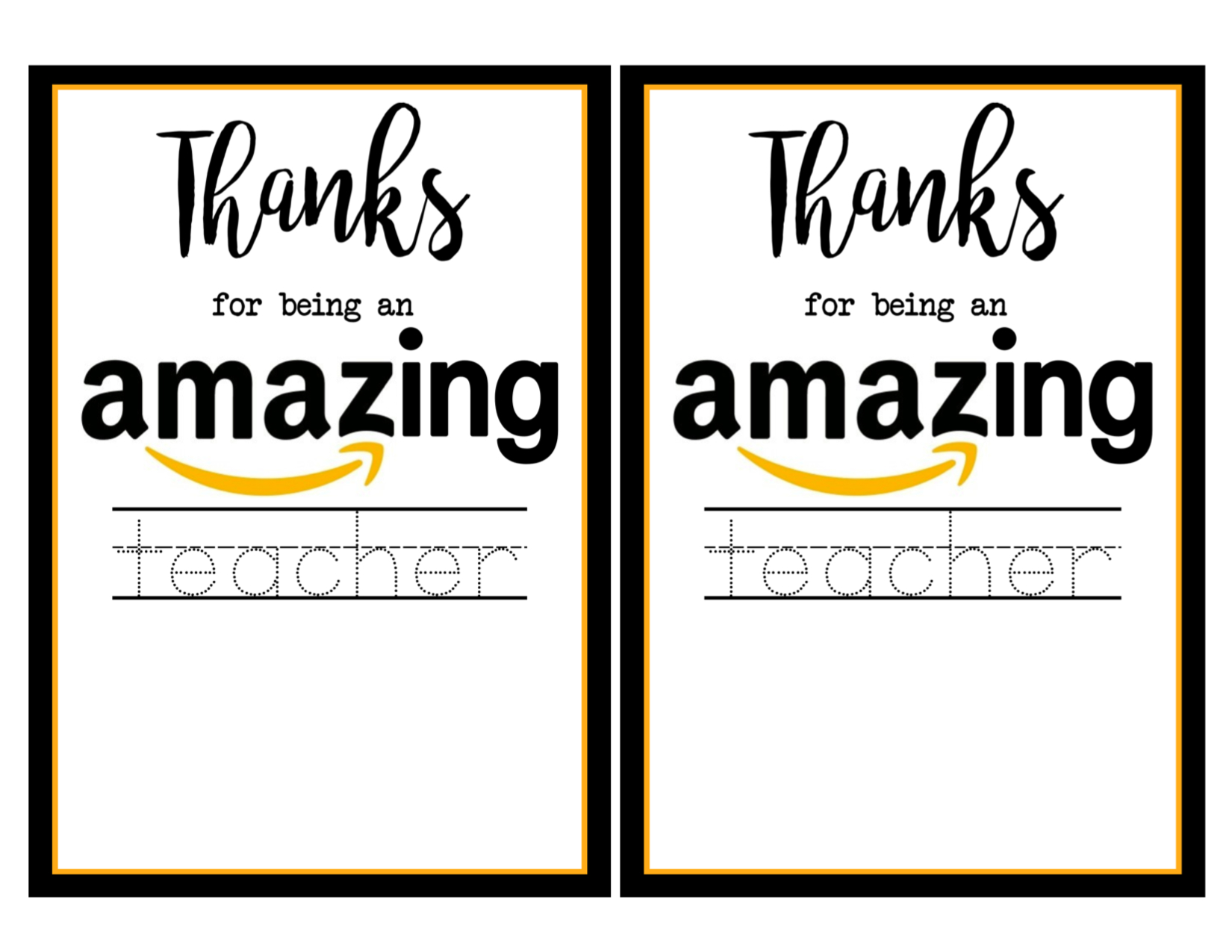 picture about Amazon Gift Card Printable identify Trainer Appreciation Amazon Card - Paper Path Layout