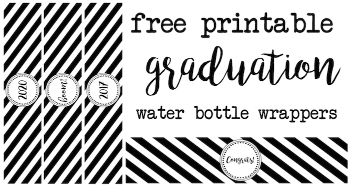 Graduation Water Bottle Wrappers Paper Trail Design - Free printable water bottle label template