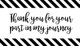 Thank You Cards or Poster { Thank you for your part in my journey }