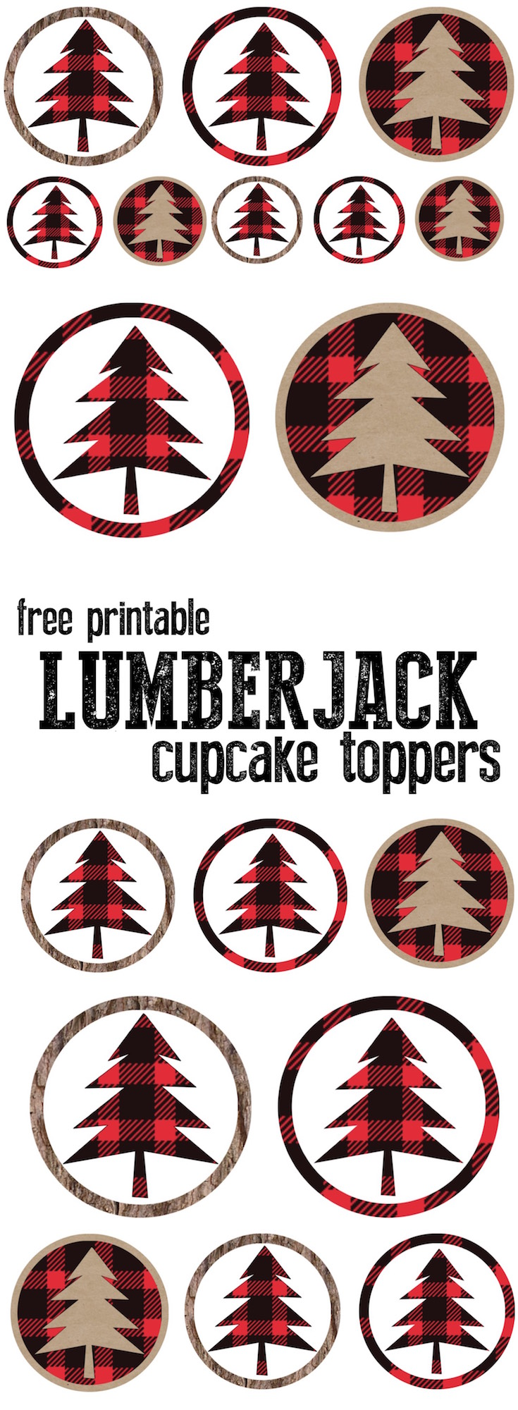 Lumberjack Cupcake Toppers Free Printable - Paper Trail Design
