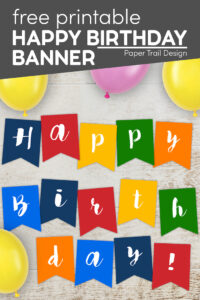 Colorful happy birthday banner flags with text overlay- free printable happy birthday banner