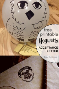 Harry Potter Hogwarts acceptance letter with wand and owl drawn onto a balloon with text overlay- free printable Hogwarts acceptance letter