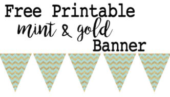 Mint and Gold Banner Free Printable