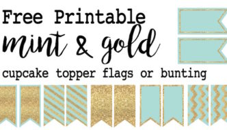 Mint and Gold Cupcake Topper Flags or Bunting