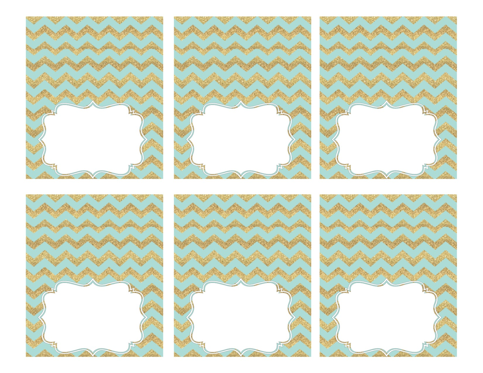 Mint and Gold Party Food Labels - Paper Trail Design