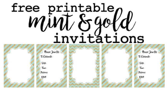 Mint And Gold Party Invitations Free Printable Paper Trail Design