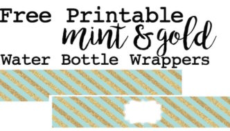 Mint and gold water bottle wrappers free printable. Print these for a mint and gold theme baby shower, wedding shower, birthday party or just for fun.