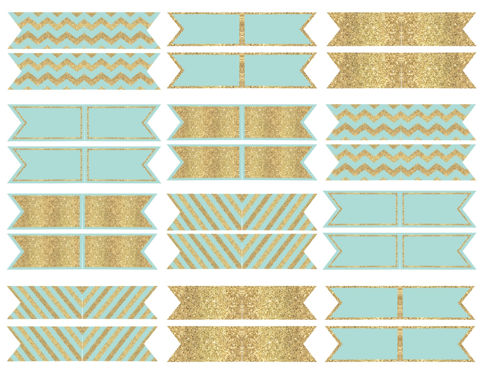 mint and gold cupcake topper flags or bunting - paper trail design