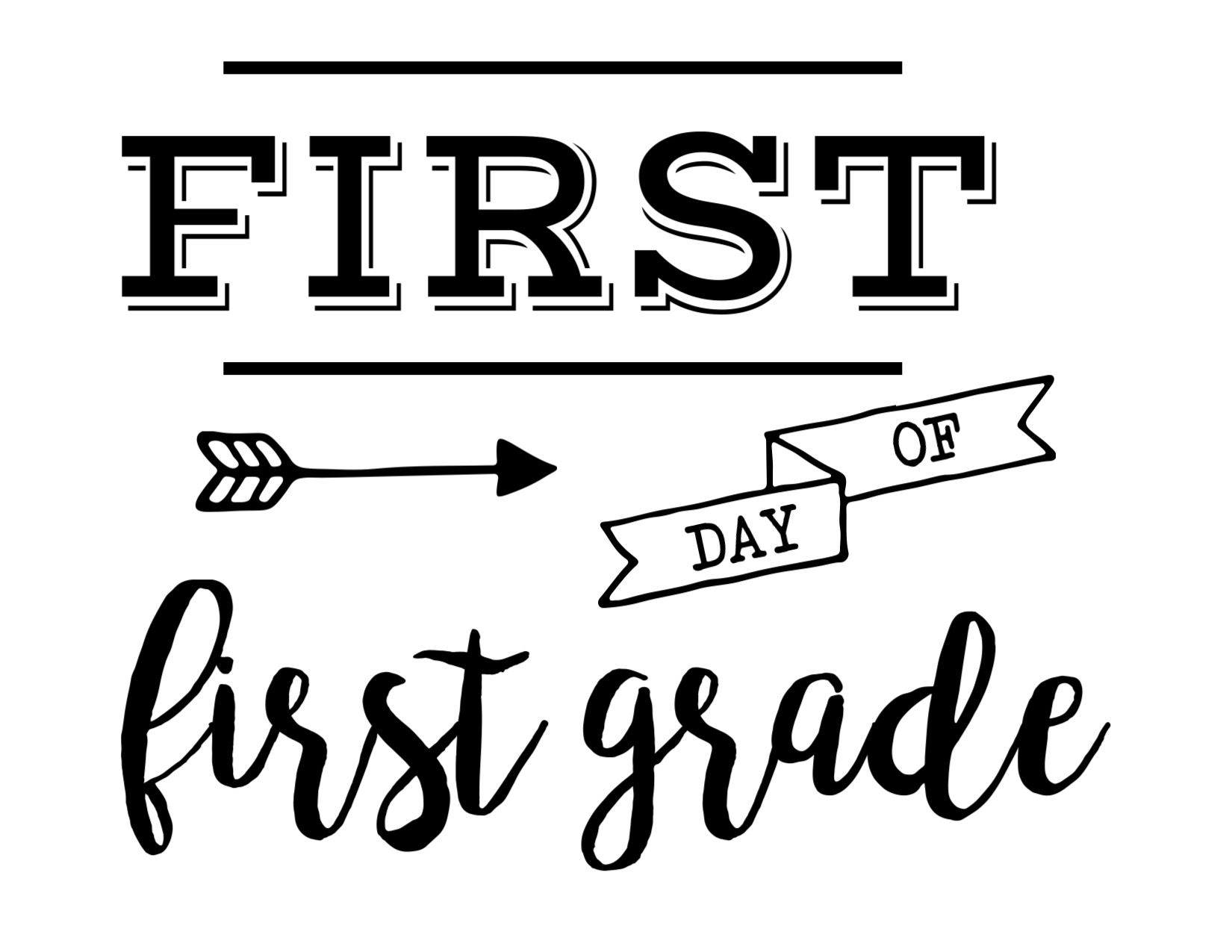 photograph relating to First Day of 1st Grade Printable Sign identified as Very first Working day of Higher education Signal Absolutely free Printable - Paper Path Style